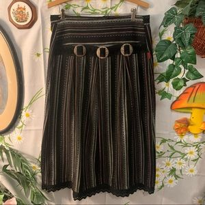 Vintage dark southwestern striped lace trim skirt